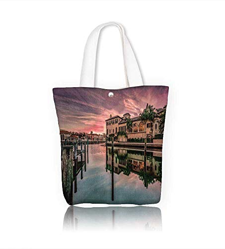canvas tote bagView on Hardwar and the holy river Ganges in India at sun reusable canvas bag bulk for grocery,shopping W23xH14xD7 INCH