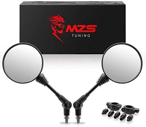 MZS ATVミラー – 360度調整 リアビュー ラウンド折りたたみ式ハンドルバーマウント オートバイ ダートバイク クワッド ATVのポラリス ヤマハ アークティック キャット Can-am ホンダ キムコ カワサキ KTM スズキ