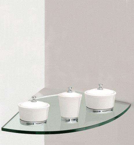 Corner Clip Shelf - Glass - 10'' x 10'' (Clear/Silver) (10''W x 10''D)