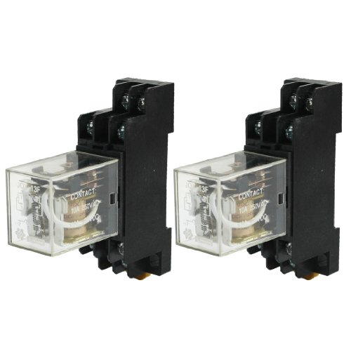 2x DPDT 10A Electromagnetic Power Relay DC 24V Coil w DIN Rail Socket