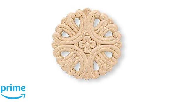 Amazon medallion small flower center birch wood applique