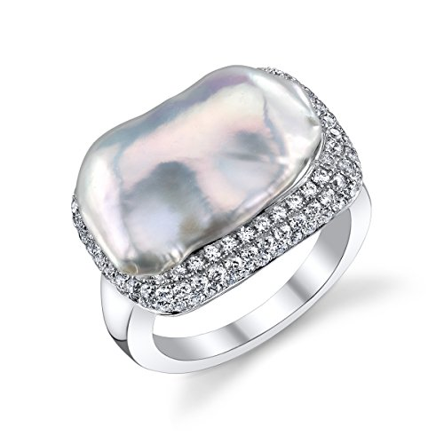 Cultured Mabe Pearl Ring - THE PEARL SOURCE Genuine White Freshwater Cultured Pearl & Cubic Zirconia Mabe Ring for Women