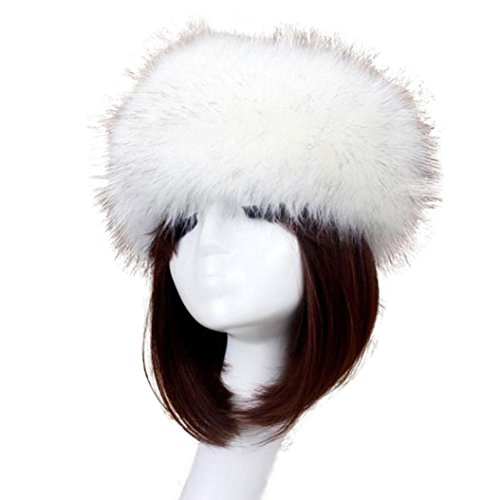 Sikye Winter Faux Fox Fur Hat Male Cap Men Women Soft Ski Headdress (White)