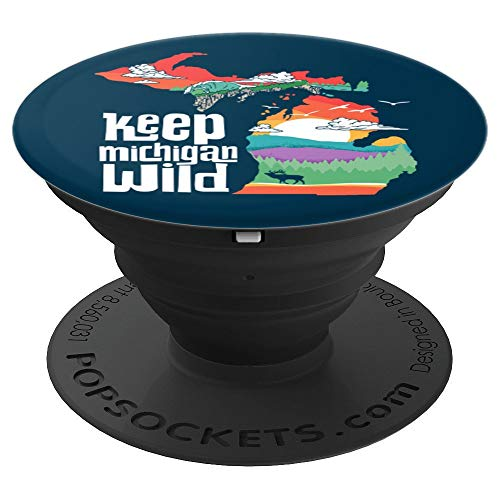 Keep Michigan Wild! Vintage State Pride Nature Graphic  PopSockets Grip and Stand for Phones and Tablets