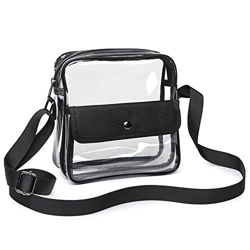 iSPECLE Clear Purse, Clear Stadium Bag Approved for NFL, PGA, NCAA, Casino, Adjustable 4.92ft Shoulder Strap for Women Men, Black ()