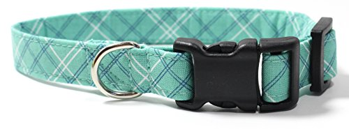 Seafoam Plaid, Teal, Green, Blue Tartan Designer Dog Collar, Adjustable Handmade Fabric Collars (S)