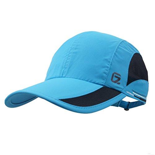 GADIEMKENSD Quick Dry Sports Hat Lightweight Breathable Soft Outdoor Run Cap (Classic upgrade, DeepSkyBlue)