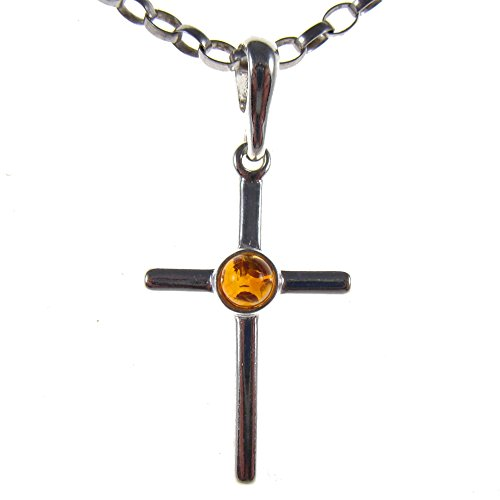 (BALTIC AMBER AND STERLING SILVER 925 CROSS PENDANT NECKLACE - 14 16 18 20 22 24 26 28 30 32 34