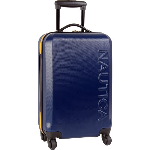 Nautica Ahoy Hardside Expandable 4-Wheeled Luggage-28 Inch Checked Size, Navy/Yellow