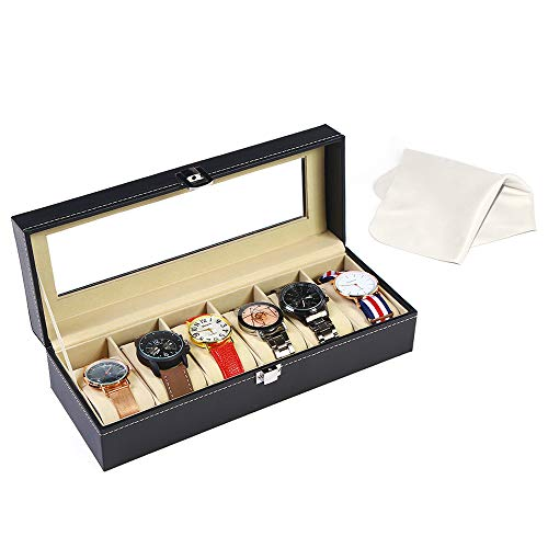 kingdoo Watch Box Men-6 Slots Leather Watch Display Case Organizer Jewelry Storage Black from kingdoo