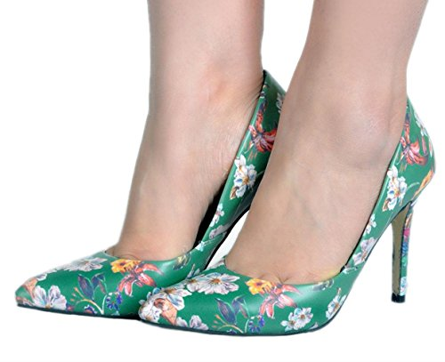 YCMDM Women's Sandals Stiletto Heel PU Floral pointed high heels Nightclub Party Evening Office Career Fashion Shoes , 38 , color