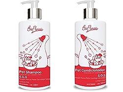 Kit Shampoo e Condicionador para cachorro e gato tratamento Floral SOS Rescue Resgate Bio Florais Composto de emergência indicado em situações de conflito