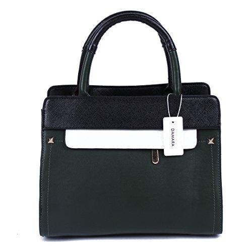 Damara Para Mujer Bloque de color cremallera multifunción bolso Crossbody Bolsa Army green