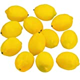 Supla 12 Pcs Artificial Lemon in Yellow 3.7'' Long x 2.56'' Wide Fake Lemon Foam lemon Fruit Decor Kitchen Table Decor