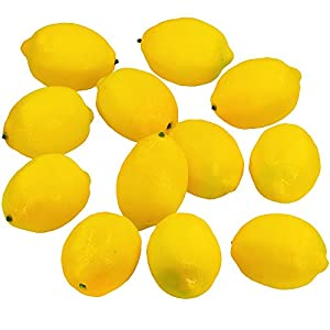 "Supla 12 Pcs Artificial Lemon in Yellow 3.7"" Long x 2.56"" Wide Fake Lemon Foam Lemon Fruit Decor Kitchen Table Decor 55"