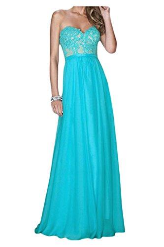 Dibujos con aplicación en forma de corazón de la Toscana de novia por la noche vestido gasa largo vestidos de fiesta en vestidos de bola Azul