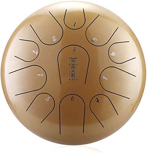 JLDN 心を緩和するための、スチールタンドラム 11 音符、タンバリン 12インチドラムスティック付き パック ご注意 エーテルドラム スチールドラム,Brown