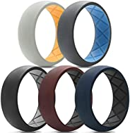 Egnaro Silicone Wedding Ring for Men, Breathable Mens' Rubber Wedding Bands, Size7 8 9 10 11 12 13, Crossf