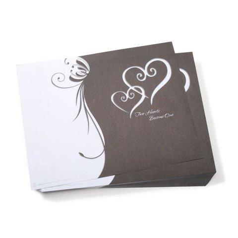 Victoria Lynn Printable Wedding Programs - Black & White - Two Hearts, Pkg. (Printable Wedding Programs)