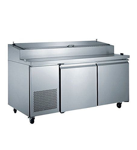 EQ Kitchen Line Stainless Steel Commercial 2-Door Pizza Prep Table Refrigerator, 70.87
