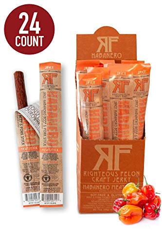 Righteous Felon Snack Sticks - Habanero Escobar Spicy Meat Sticks - High-Protein, Gluten-Free Pork & Beef Sticks - Locally Sourced, Low-Sugar Pork Jerky & Beef Jerky Sticks - 1 Ounce Each, 24-Count
