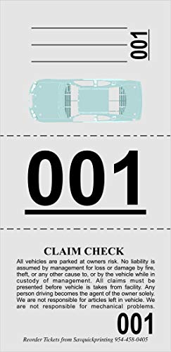 Valet Parking Tickets (1000) - Claim Tags with Car Diagram - Valet Stubs Perforated - Key Tags 3 Part Gray - Index Stock 110Lb Numbered 000-999 - by SavQuickPrinting