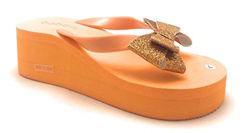 Dev Kvinnor Hög Klack Flip Flop Kil Rem Sommar Strand Toffel Sandaler Apelsin Båge