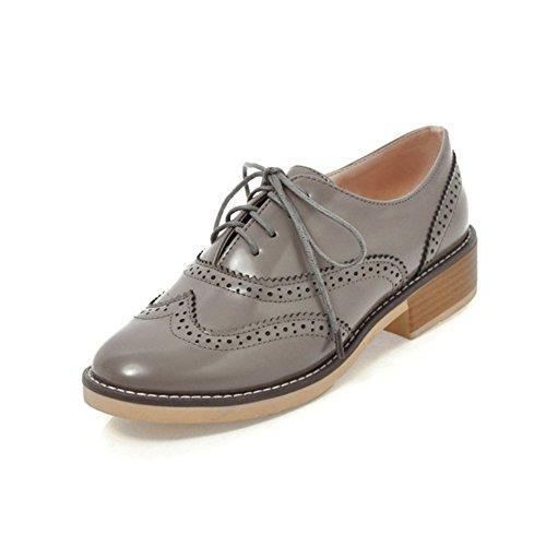T-juli Damesmode Oxford Schoenen - Comfortabele Geperforeerde Veterschoenen Met Lage Hak En Lage Hak Casual Schoenen Grijs