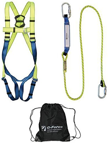 G-Force P10 Shock Absorber Lanyard & Full Body Height Safety Fall Arrest Harness Kit XXL SafetyLiftinGear