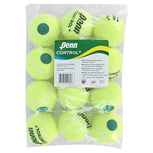 Penn Control Plus Tennis Balls - Youth Felt Green Dot Tennis Balls for Beginners - 12 Ball Polybag