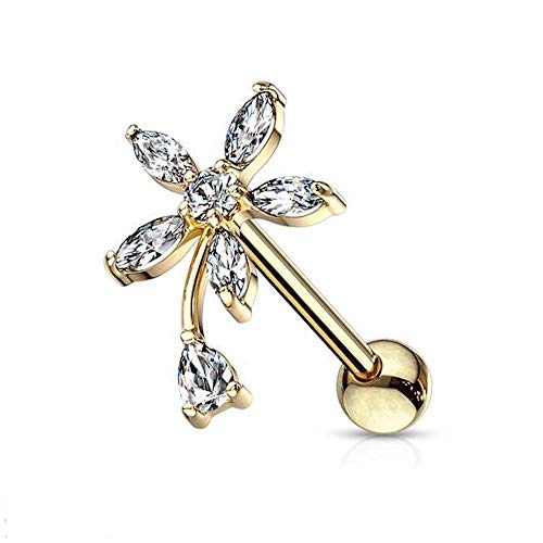 Covet Jewelry Round and Marquise CZ Flower with Pear CZ Stem Top 316L Surgical Steel Cartilage, Tragus Barbell Studs (Gold)