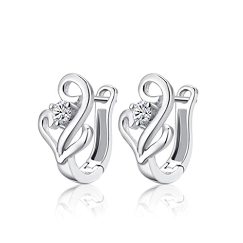 Time Pawnshop Simple Elegant Sterling Silver Cubic Zirconia Lady Hoop Earrings Early Engine Mount