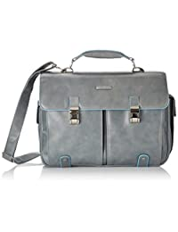 Piquadro Leather Case with 2 Front External Pockets, Dark Grey, One Size