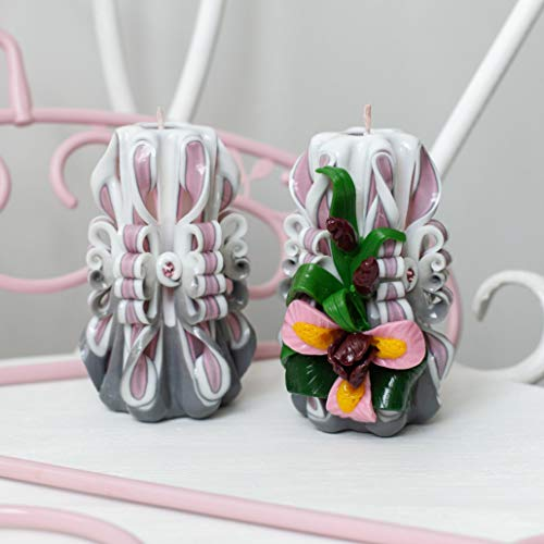 (Unique gift for Mom - carved candle set gray and rose Home Decoration - 2)
