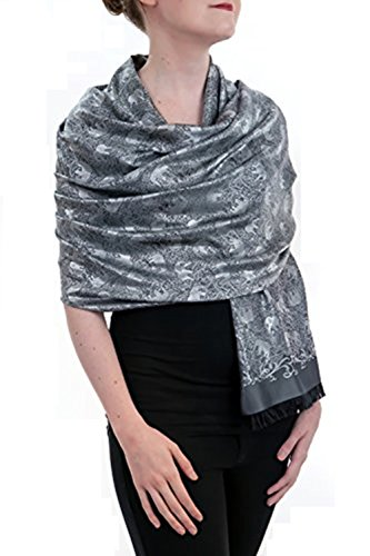 Opulent Luxury Scarf Shawl Wrap Reversible 100% Silk Soft Silver & Black 72