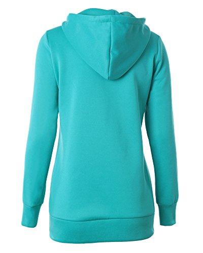 Cremallera Sudadera con Capucha Mujeres Chaqueta Corta con Capucha Jacket Sportswear Verde