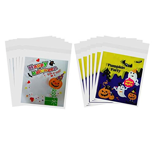 SM SunniMix 200x Candy Bags Fashion Plastic Adhesive Candy Cookie Bags for Halloween