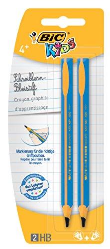 BIC KIDS Dreikant-Schreiblern-Bleistift EVOLUTION HB, 2-farbig sortiert, Blister à 2 Stück