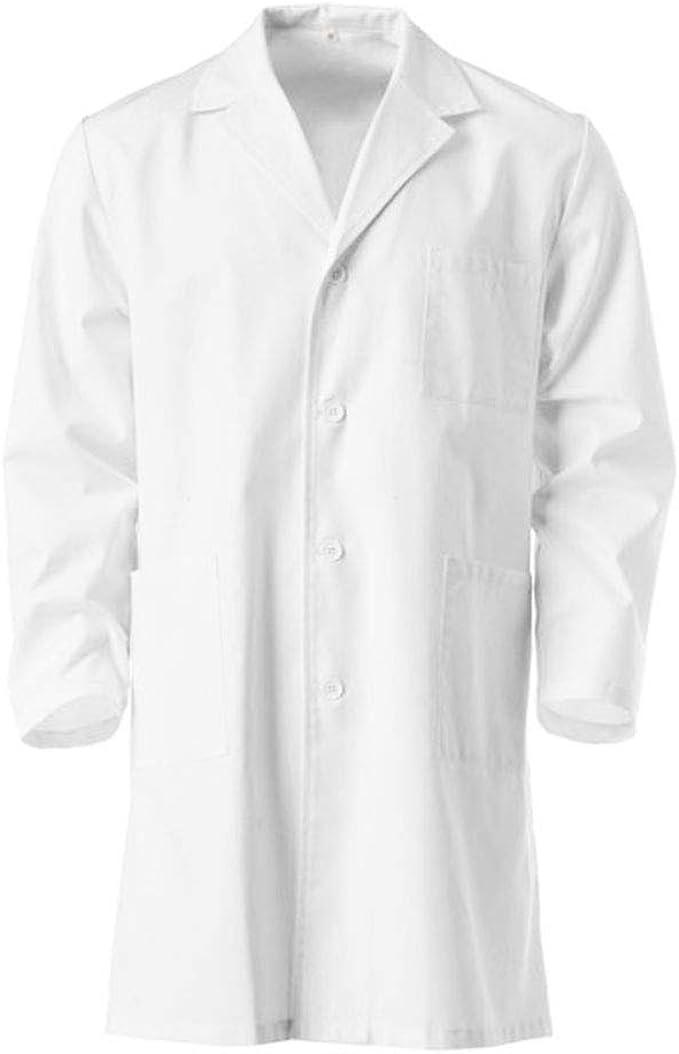 Bata de Laboratorio, Médico, Enfermera, Uniforme de Trabajo Blanca de Manga Larga (S): Amazon.es: Ropa y accesorios