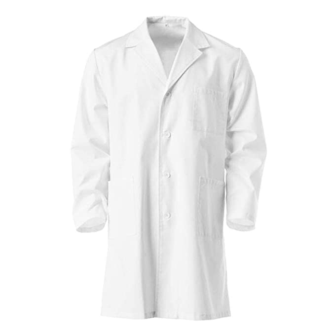 Furein Bata de Laboratorio, Médico, Enfermera, Uniforme de Trabajo Blanca de Manga Larga