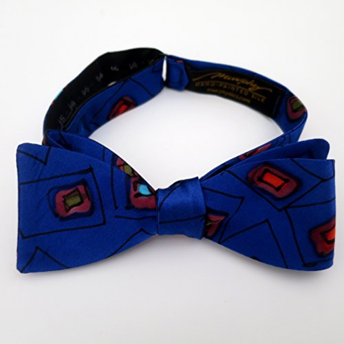 100% Silk Hand-Painted Hand-Made Men's Self Tie Bow Tie ''M&Ms'' Art to Wear by Murphyties by Murphyties Inc.