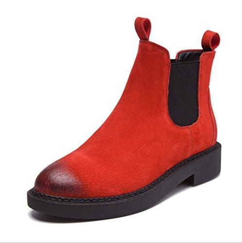 Moda De Red Botas Botas Casual Únicas Otoño E Redondos Invierno Zapatos Botas Cuero Retro Martin 86WqwStW