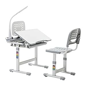 Mecor Multifunctional Children's Desk and Chair Set Adjustable Kids Work Station with Lamp & Storage & Bookstand Grey