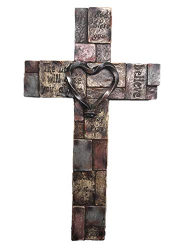 Polly House 12 Inch Bible Verses on Stone Bricks with Heart Wall Cross Wall Decor Wall Art - Wall Cross Heart