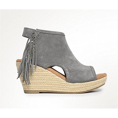 websites for sale Minnetonka Women's Blaire Wedge Sandals - 71330Blk Grey Suede clearance marketable NErxr