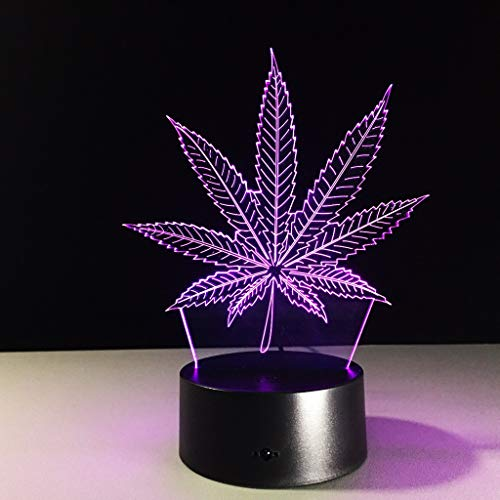 XYDYXL The New 3D Visual Light Colorful Gradient Led Leaves Light Home Decoration Festival Gift Table Lamp Night Light (Size : Bluetooth Audio)