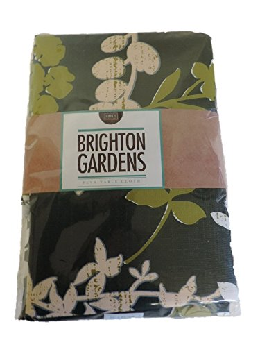 Brighton Gardens PEVA Tablecloth - Batik Pattern Green with Flowers (52