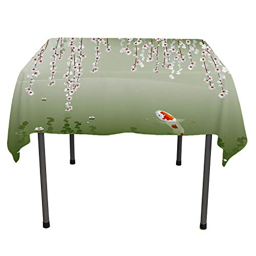 Koi Fish Picnic Cloth Japanese Koi Fish Painting Style Hanging Cherry Flowers Floating Leaves Green Orange White Dinning Tabletop Decoration Small Square Tablecloth 36 by 36 inch ()