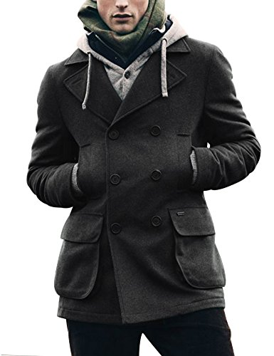 Coofandy Men's Winter Classic Wool Double Breasted Pea Coat,Gray,X-Large