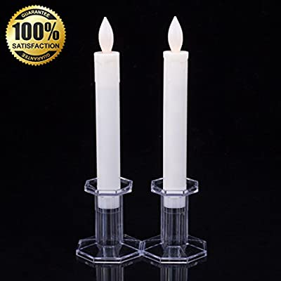 "Set of 2 9"" Tall LED Flickering Flameless Taper Candles, Ivory- Table Candles Window Candle Lights, Battery Operated Candles Stick Candles, Christmas Candles-- Romance Dinner Candle By JIAJIA Spring"